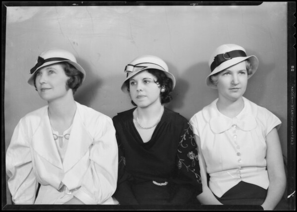 Millinnery models & Mr. Everett, Walkers Department Store, Southern California, 1933