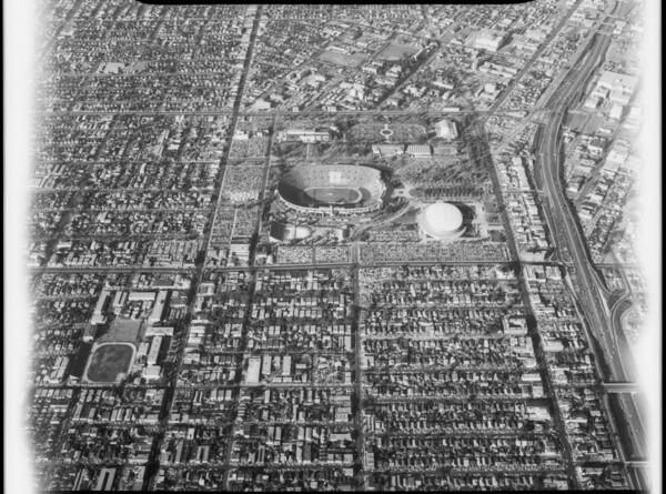 Aerial photographs of Los Angeles Memorial Coliseum, Los Angeles, 1963