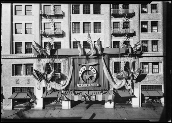 Store exterior with Shriner decor, Southern California, 1925