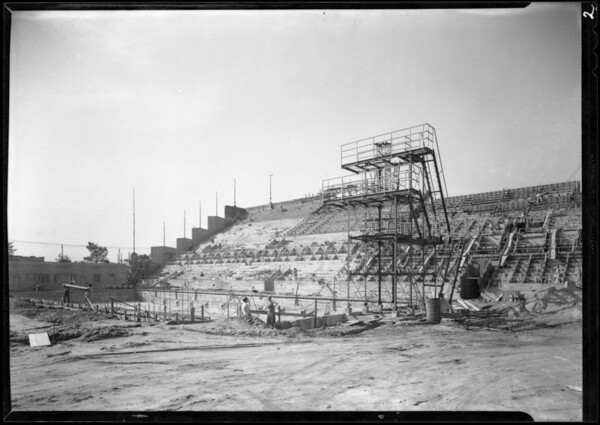 Progress of Olympic pool, Los Angeles, CA, 1932