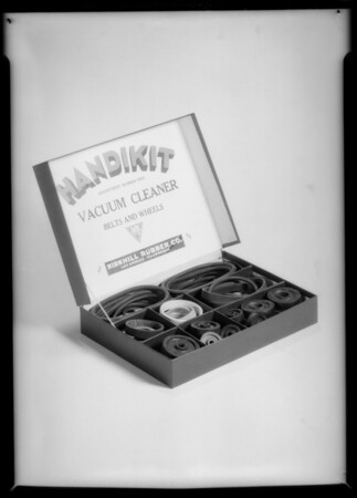 Box with rubber articles for catalog, Southern California, 1934