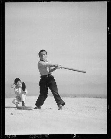 Boys, marbles and baseball, Southern California, 1934