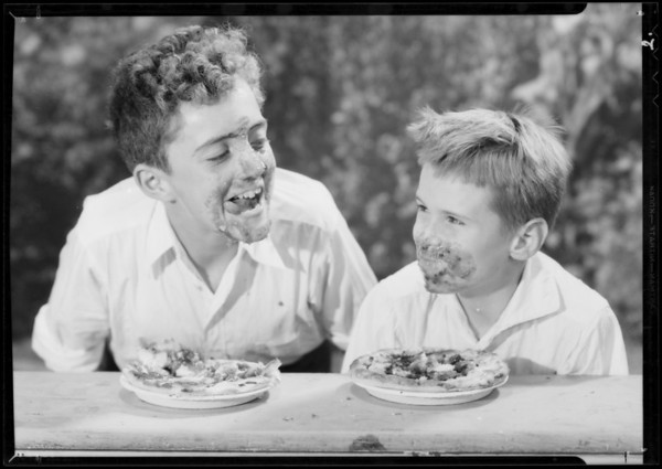 Pie eating contestants, Edward & Donald, Southern California, 1934