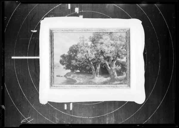 Blanket & pictures in frames, Southern California, 1933