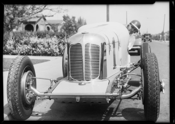 Louis Meyer and racing cars, Southern California, 1934