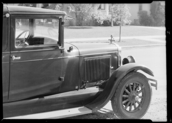 Oldsmobile coupe, M.G. Duff, owner & assured, Southern California, 1934