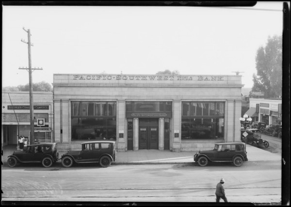 Pacific Southwest Bank, Hudson & Hollywood Boulevard Branch, Los Angeles, CA, 1924