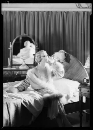 Drinking milk on retiring, Southern California, 1931