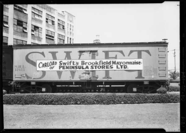 Carload of Swift's Brookfield mayonnaise for Peninsula Stores Inc., Southern California, 1934