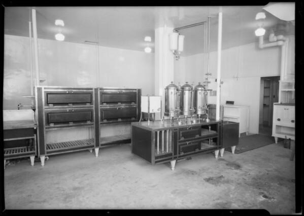 Kitchen fixtures in restaurants, Southern California, 1925