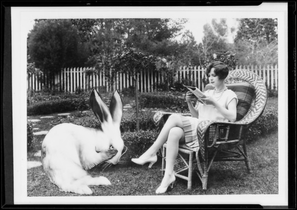 Prominent people, theatrical, Helen Ferguson & rabbit, Southern California, 1927
