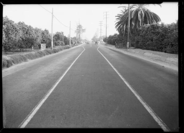 Scene of accident near Montebello on Telegraph Road - Adams vs. Warren, Montebello, CA, 1934