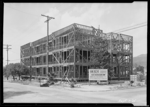 Construction--apartment house, North Louise Street and East Dryden Street, Glendale, CA, 1925