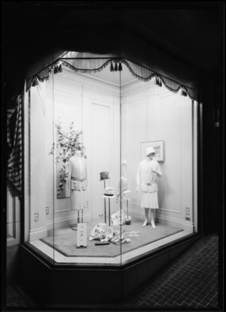 Department stores - women's wear window, Southern California, 1926