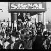 Fargan presenting radio to boy, Southern California, 1933