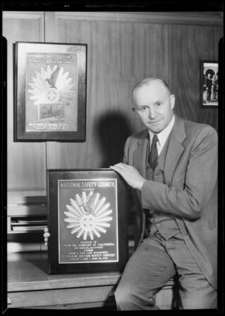 National Safety Council award, Southern California, 1933