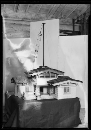 Model of house with radio antennae, Southern California, 1927