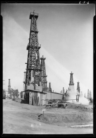 Oil well at Athens, deepest well in the world, Southern California, 1925