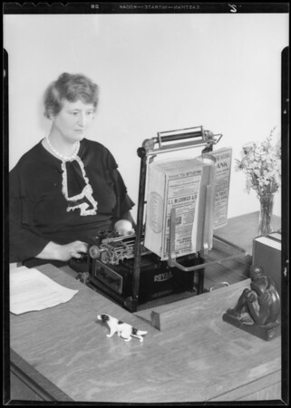Demonstrating use of typewriter work holder, Los Angeles, CA, 1933