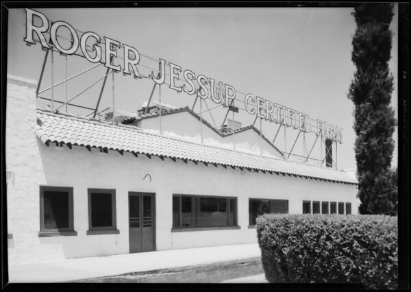 Views of front of plant, Roger Jessup Certified Farms, 5431 San Fernando Road, Glendale, CA, 1931