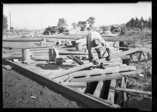 Road construction of bridge on Mesa Drive, Southern California, 1929