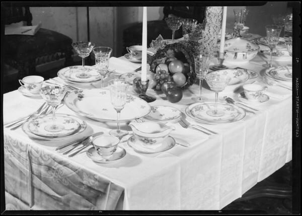 Table setting, Southern California, 1933