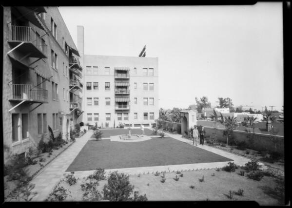 Havenhurst Apartments, apartment garden, Los Angeles, CA