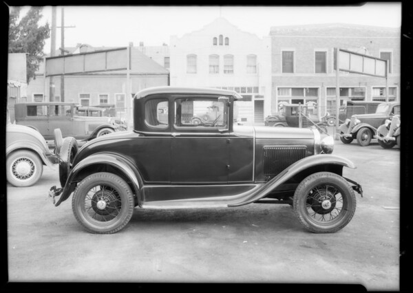 Ford coupe #3X2982 at Cook Brothers Garage, Southern California, 1934
