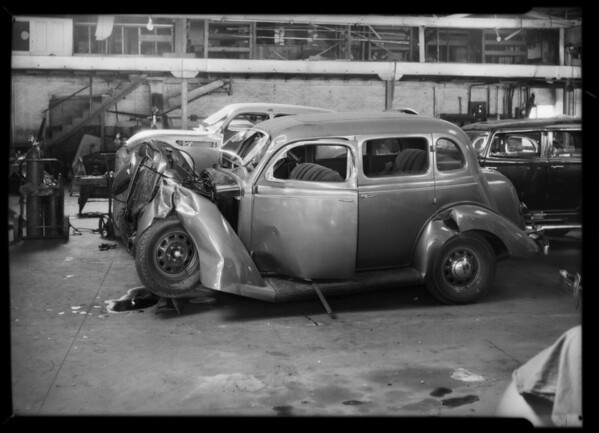 Wrecked Plymouth Sedan, W.R. Brewer owner and assured, Southern California, 1935