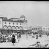 Beach scene with people, Santa Monica, CA, 1926