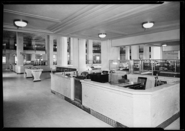 Pacific Southwest Bank interior home office, Southern California, 1926