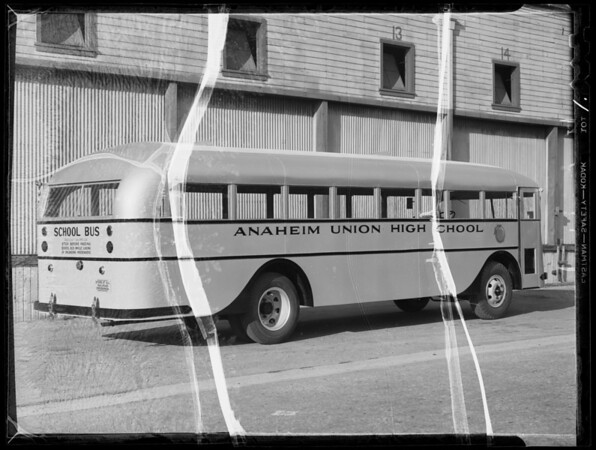 Anaheim Union High School bus, Southern California, 1935
