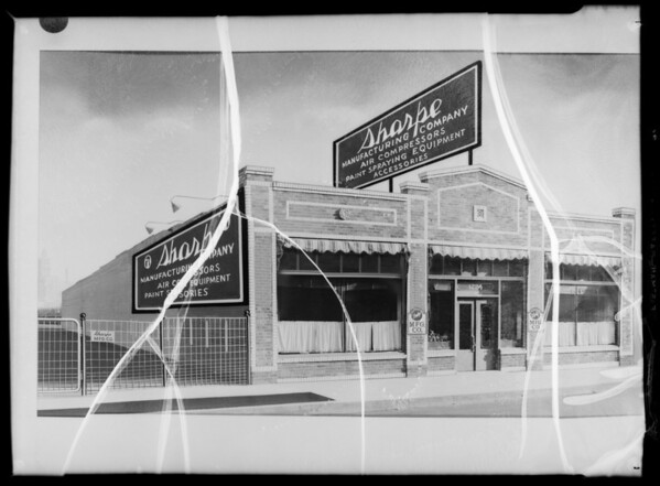 Copy of retouched print of Sharpe Manufacturing Co. building, Southern California, 1935