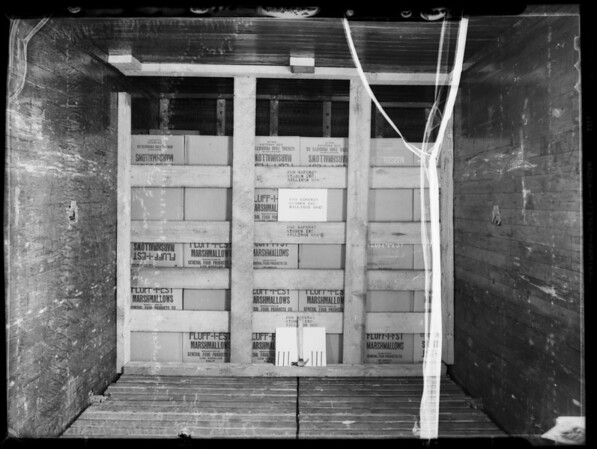 Freight car interior showing scaffolding packing, Southern California, 1935