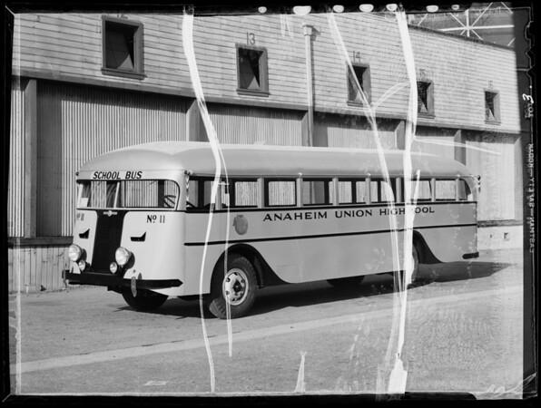 Anaheim Union High School bus, Southern California, 1935
