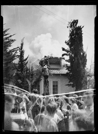 House on fire, Southern California, 1936