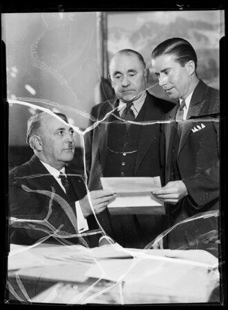 Mr. Hennessey meeting Mayor Frank L. Shaw, Southern California, 1935