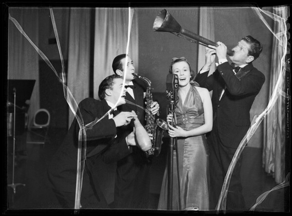 Burns, Dosey, Webber, and Eberle at microphone, Southern California, 1935