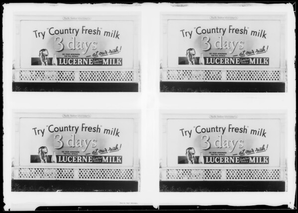 Lucerne board for stickers, Southern California, 1935