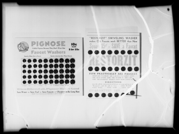 Pignose washers on cards, Southern California, 1935