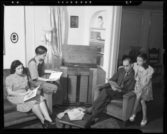 Family group listening to recording, Southern California, 1940