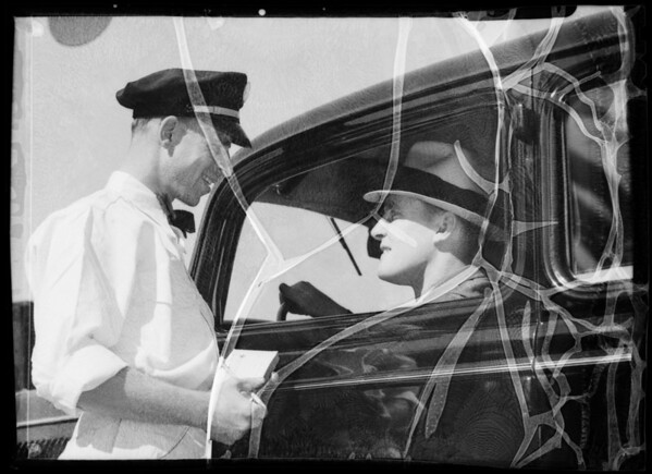 Salesman and customer in car, Southern California, 1935
