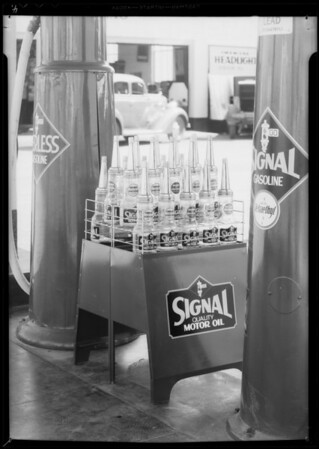 Oil display rack, Southern California, 1935
