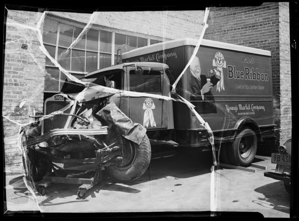 Young's Market truck to show damage, Southern California, 1936
