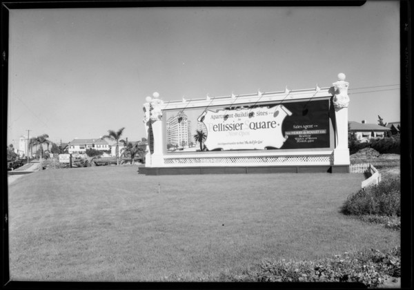 Pellissier Square billboard, Los Angeles, CA, 1927