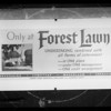 Forest Lawn board for lantern slide, Southern California, 1936