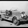 Pomona fire truck and Van de Kamp's truck, Southern California, 1935