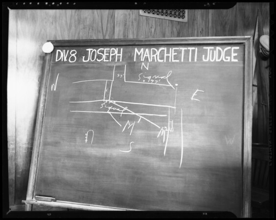 Blackboard in Division 8, municipal court, Hall of Justice, Temple Street and Broadway, Los Angeles, CA, 1940