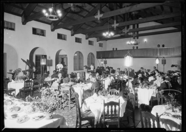 L.A. Tennis Club dining room, Los Angeles, CA, 1926.