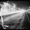 Intersection of Broadway and West 47th Street at night, Los Angeles, CA, 1936